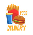 food delivery fast food dishes online service vector image