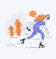 girl on roller skates vector image vector image