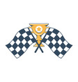 gold cup with engraved star and checkered flags vector image vector image