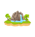 green island with waterfall large rock blue vector image vector image
