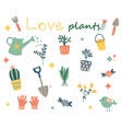 hand drawn plant collection planting decorative vector image