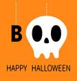happy halloween hanging word boo text skull vector image vector image