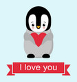 happy valentines day in love penguin penguin vector image