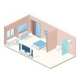 hotel bedroom cross section vector image vector image