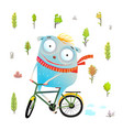 kids character with bicycle riding in forest vector image