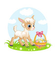 little cute funny character lamb and easter basket vector image