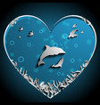 loving of dolphins under the sea papercut art vector image
