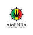 marijuana logo design on flag vector image vector image