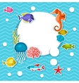 Marine life sticker background with sea animals vector image vector image