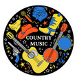music sticker western country festival illu vector image vector image