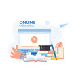 online education app concept with cartoon study vector image