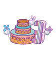 party cake with flowers and and candle number vector image
