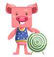 pig with target on white background vector image vector image