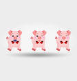 pigs with red bows set icon vector image