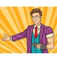 Pop art man invites you to the opening gym vector image vector image
