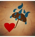 rain umbrella with a heart background vector image vector image