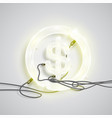 realistic neon money sign vector image vector image