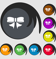 Ribbon Bow icon sign Symbols on eight colored vector image vector image