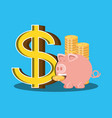 saving piggy and coins isolated icon vector image vector image