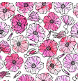 seamless pattern watercolor wild rose pink flower vector image