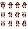 set chimpanzee flat icons vector image