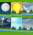 set nature landscape different weather vector image