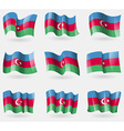 Set of Azerbaijan flags in the air vector image vector image