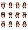 Set of Chimpanzee flat icons vector image vector image