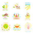 set of stickers of natural children s menu with vector image