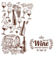 side vertical border with sketch wine icons vector image