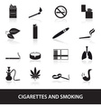 smoking and cirarettes simple black icons set vector image vector image