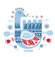 stylized folk ornament with winter goose template vector image vector image