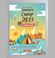 summer camp poster layout vector image