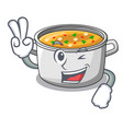 two finger cartoon chicken soup pot for dinner vector image