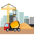 under construction mixer truck vehicle sand and vector image vector image