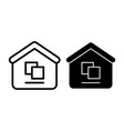 warehouse line and glyph icon building vector image