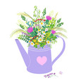 watering can with wild flowers bouquet vector image