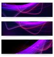 Web neon swoosh line bright header set vector image vector image