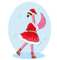 winter holidays flamingo isolated on white vector image vector image