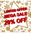 Winter sale poster with LIMITED OFFER MEGA SALE 20 vector image vector image