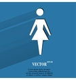 woman restroom Flat modern web button with long vector image