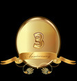 3rd golden anniversary birthday seal icon vector image