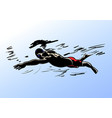 a silhouette a swimmer vector image vector image