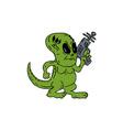 Alien Dinosaur Holding Ray Gun Cartoon vector image