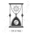 astrology hourglass with sun and moon inside vector image