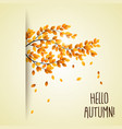 autumn branch with falling leaves vector image
