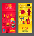 banners with firefighting items fire protection vector image vector image