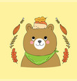 cartoon cute autumn bear and hedgehog vector image vector image