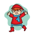 Cartoon elf with red costume vector image vector image
