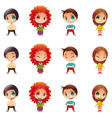 Characters with normal - blinked eyes - open mouth vector image vector image